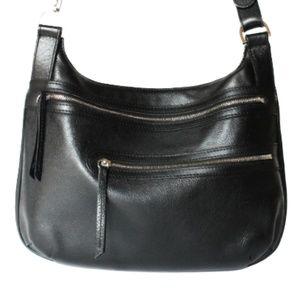 Longchamp Bags - LONGCHAMP BLACK PEBBLED LEATHER CROSSBODY HANDBAG